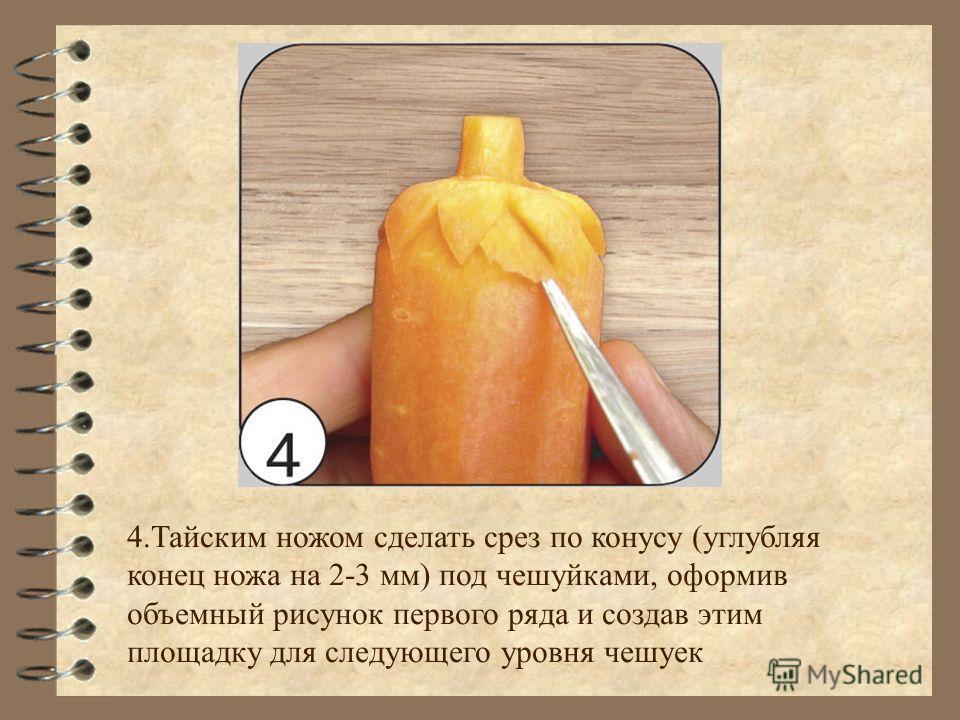 4.Тайским ножом сделать срез по конусу (углубляя конец ножа на 2-3 мм) под чешуйками, оформив объемный рисунок первого ряда и создав этим площадку для следующего уровня чешуек