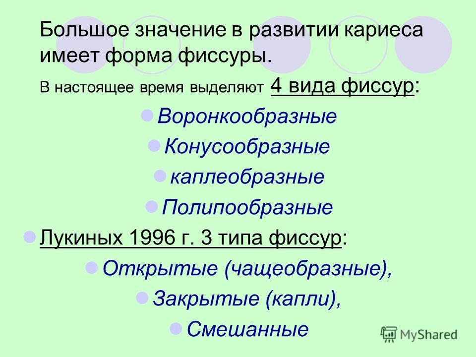 Большое значение в развитии кариеса имеет форма фиссуры. В настоящее время выделяют 4 вида фиссур: Воронкообразные Конусообразные каплеобразные Полипообразные Лукиных 1996 г. 3 типа фиссур: Открытые (чащеобразные), Закрытые (капли), Смешанные