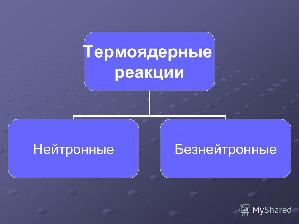 Термоядерные реакции НейтронныеБезнейтронные