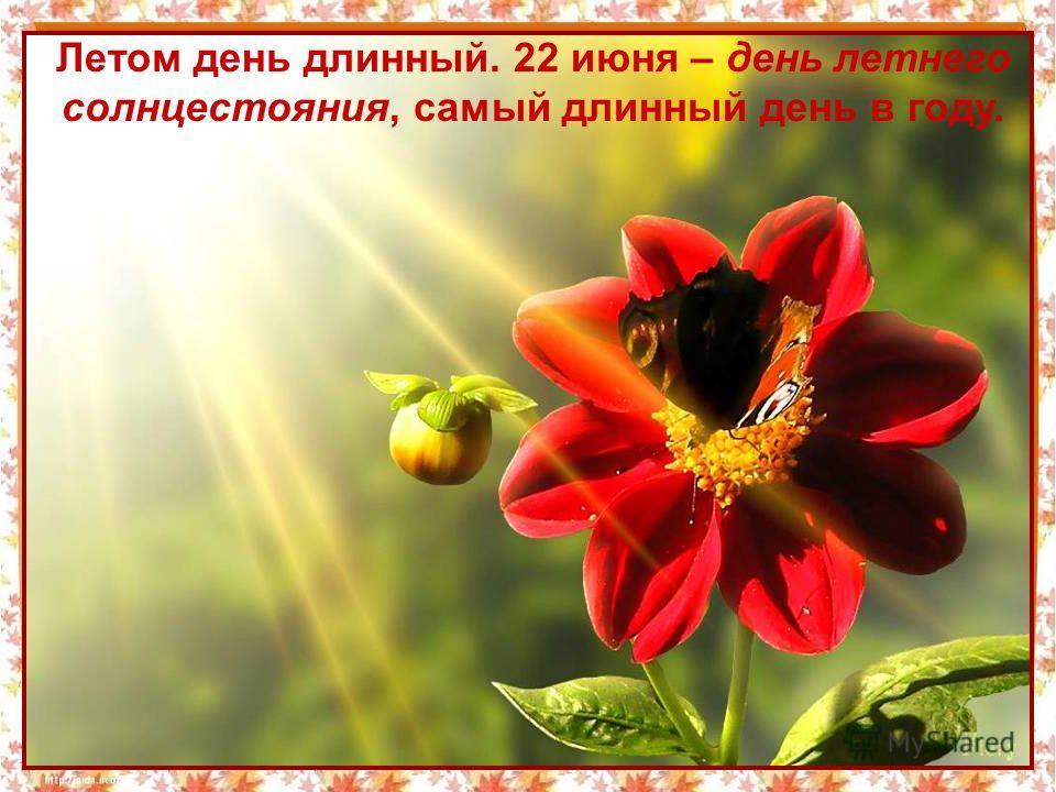 Летом день длинный. 22 июня – день летнего солнцестояния, самый длинный день в году.