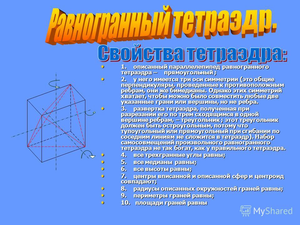1. описанный параллелепипед равногранного тетраэдра – прямоугольный ; 1. описанный параллелепипед равногранного тетраэдра – прямоугольный ; 2. у него имеется три оси симметрии (это общие перпендикуляры, проведенные к противоположным ребрам, они же би