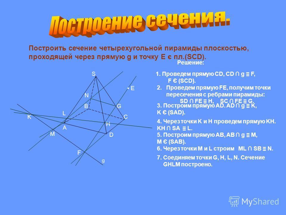 Построить сечение четырехугольной пирамиды плоскостью, проходящей через прямую g и точку Е є пл.(SCD). K G H L M N F S B A C D E g Решение: 1. Проведем прямую CD, CD g F, F Є (SCD). 2. Проведем прямую FE, получим точки пересечения с ребрами пирамиды: