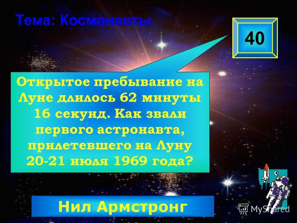 Открытое пребывание на Луне длилось 62 минуты 16 секунд. Как звали первого астронавта, прилетевшего на Луну 20-21 июля 1969 года? 40 Тема: Космонавты Нил Армстронг