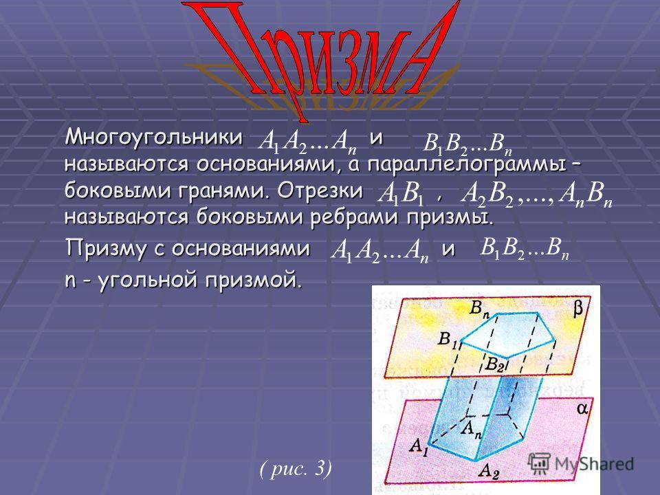 Многоугольники и называются основаниями, а параллелограммы – боковыми гранями. Отрезки, называются боковыми ребрами призмы. Призму с основаниями и n - угольной призмой. ( рис. 3) n ААА... 21 n BBB 21 nn BАВА,..., 22 11 ВА n BBB... 21 n ААА 21