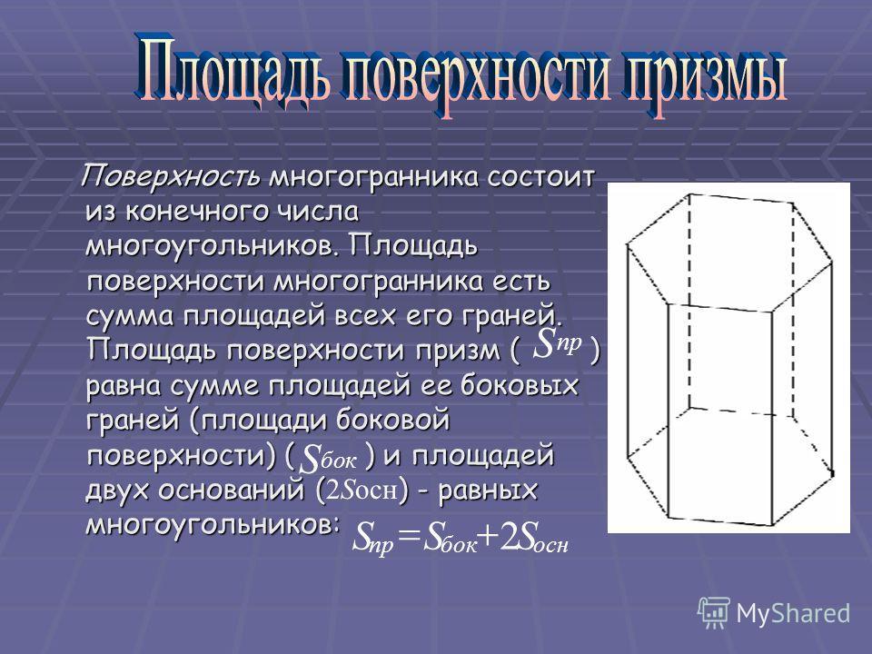 Поверхность многогранника состоит из конечного числа многоугольников. Площадь поверхности многогранника есть сумма площадей всех его граней. Площадь поверхности призм ( ) равна сумме площадей ее боковых граней (площади боковой поверхности) ( ) и площ
