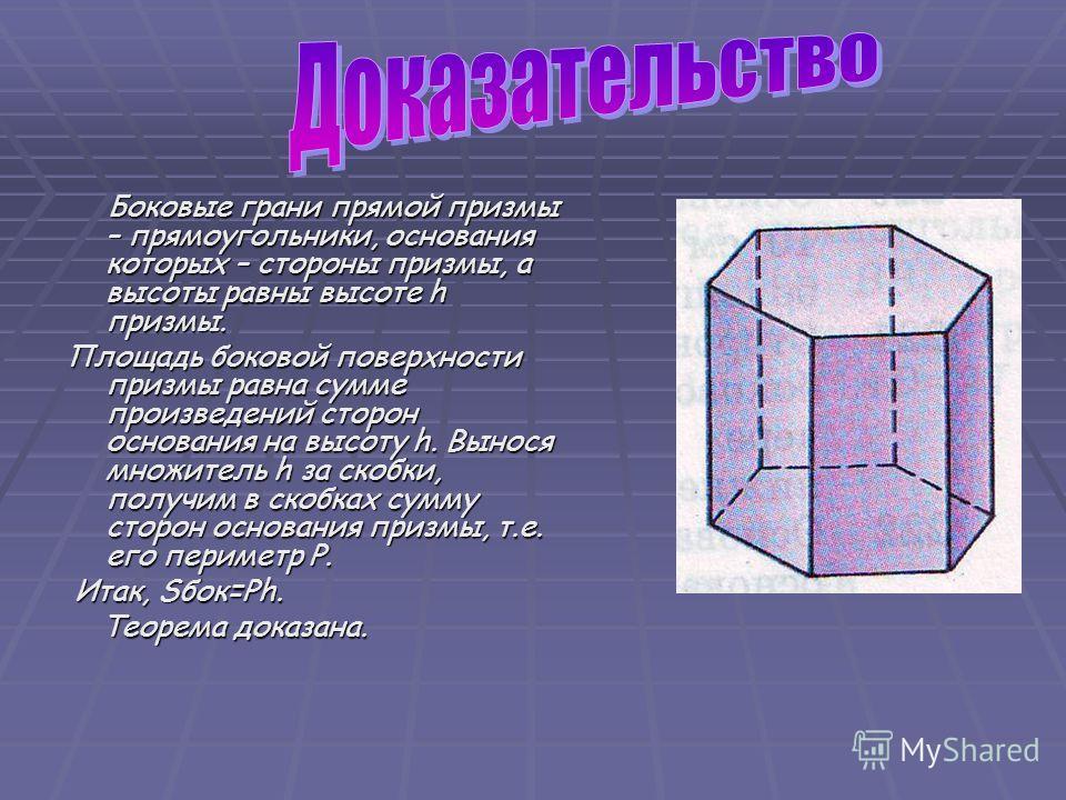 Боковые грани прямой призмы – прямоугольники, основания которых – стороны призмы, а высоты равны высоте h призмы. Боковые грани прямой призмы – прямоугольники, основания которых – стороны призмы, а высоты равны высоте h призмы. Площадь боковой поверх