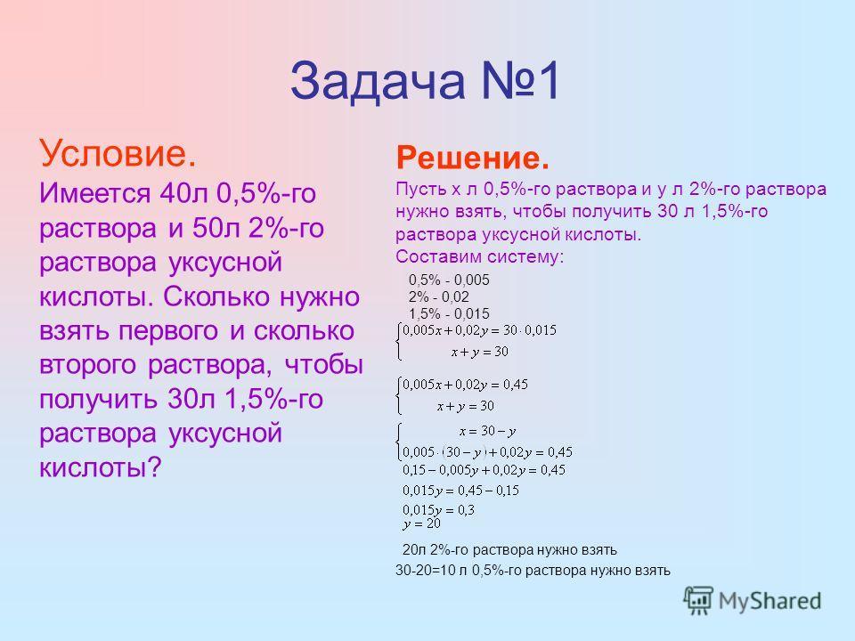 Задача 1 Условие. Имеется 40л 0,5%-го раствора и 50л 2%-го раствора уксусной кислоты. Сколько нужно взять первого и сколько второго раствора, чтобы получить 30л 1,5%-го раствора уксусной кислоты? Решение. Пусть x л 0,5%-го раствора и y л 2%-го раство