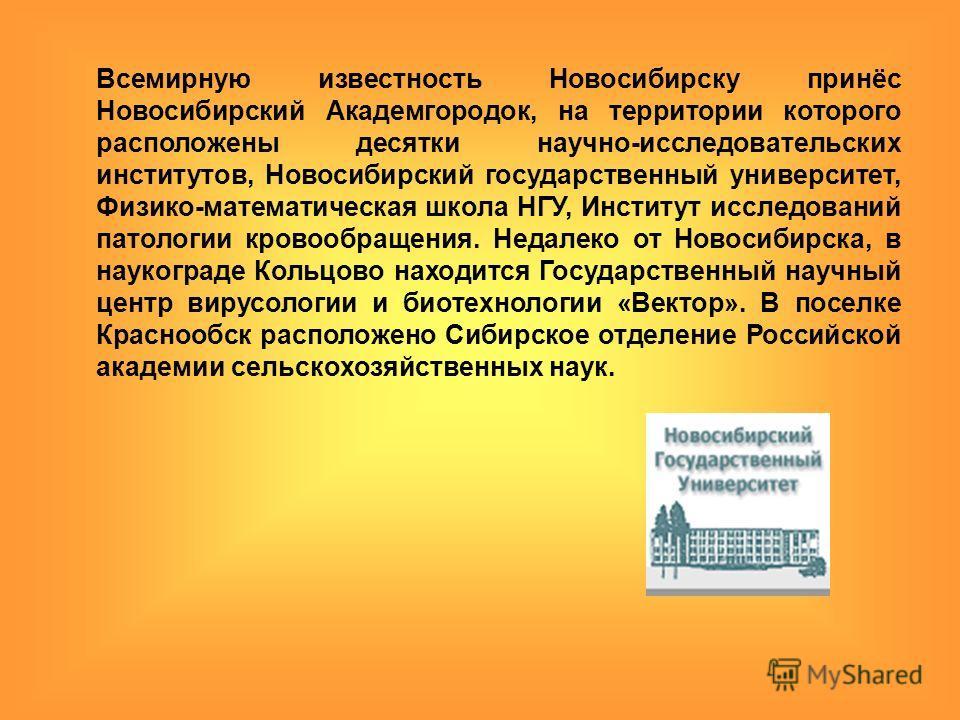 Всемирную известность Новосибирску принёс Новосибирский Академгородок, на территории которого расположены десятки научно-исследовательских институтов, Новосибирский государственный университет, Физико-математическая школа НГУ, Институт исследований п