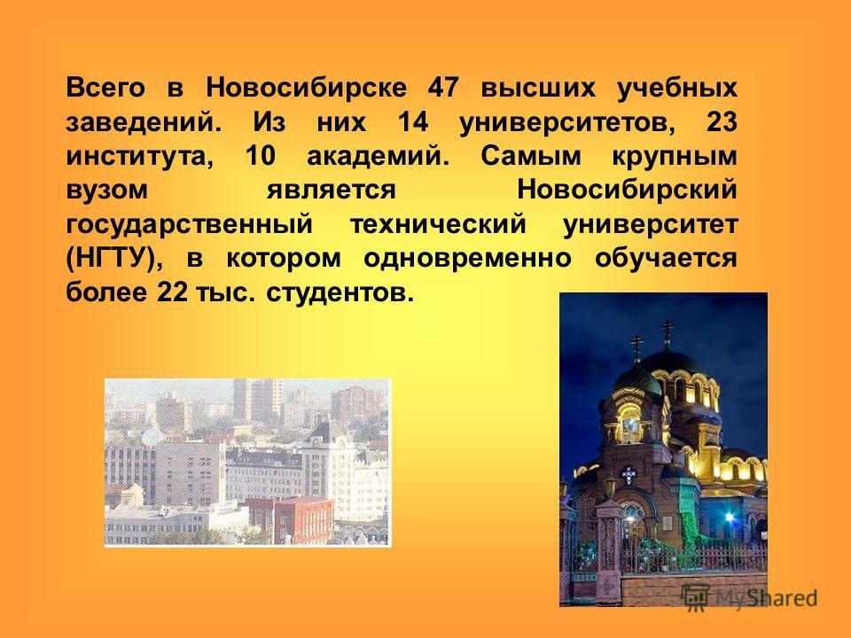 Всего в Новосибирске 47 высших учебных заведений. Из них 14 университетов, 23 института, 10 академий. Самым крупным вузом является Новосибирский государственный технический университет (НГТУ), в котором одновременно обучается более 22 тыс. студентов.