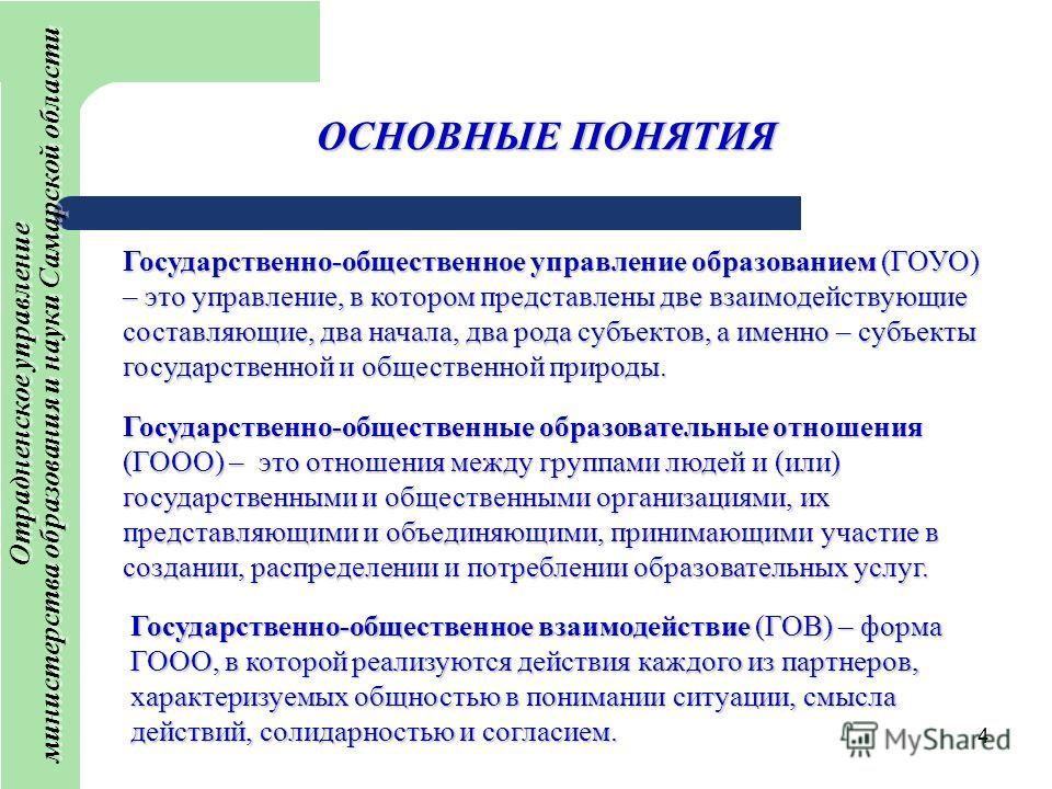 4 ОСНОВНЫЕ ПОНЯТИЯ Отрадненское управление министерства образования и науки Самарской области Отрадненское управление министерства образования и науки Самарской области Государственно-общественное управление образованием (ГОУО) – это управление, в ко