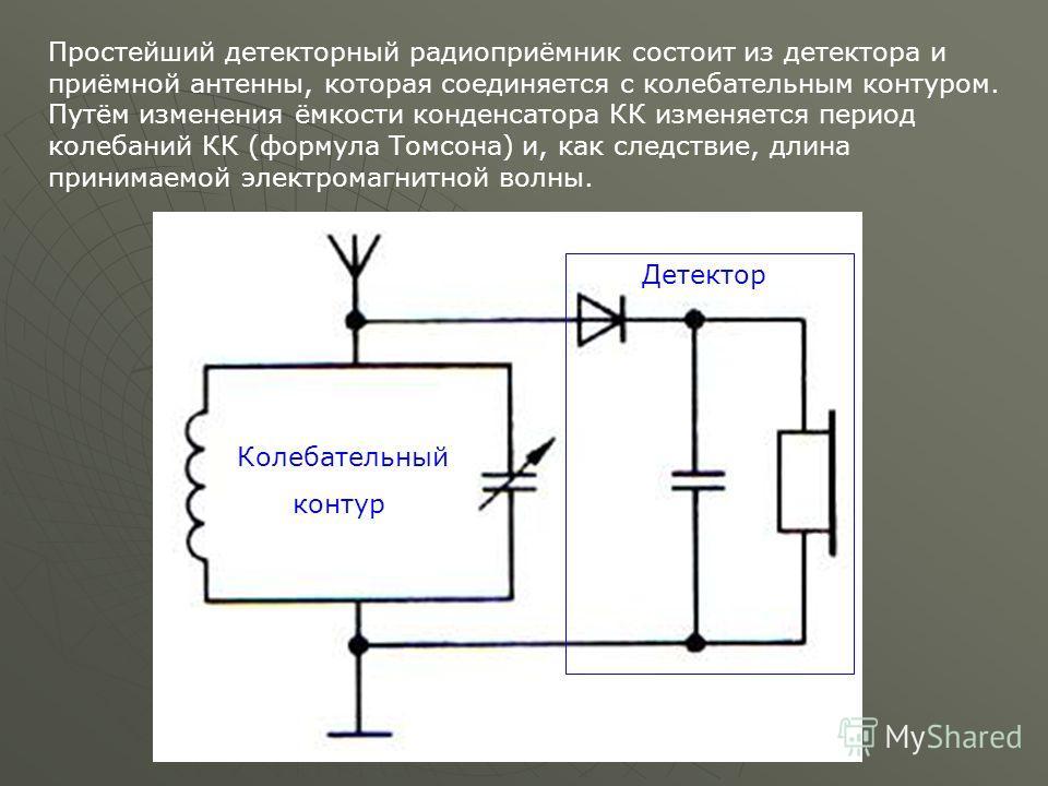 Простейший детекторный радиоприёмник состоит из детектора и приёмной антенны, которая соединяется с колебательным контуром. Путём изменения ёмкости конденсатора КК изменяется период колебаний КК (формула Томсона) и, как следствие, длина принимаемой э