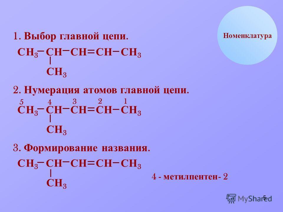 5 НС Номенклатура 1. Выбор главной цепи. НН3Н3 ССССС СН 3 ННН3Н3 2. Нумерация атомов главной цепи. НН3Н3 ССССС СН 3 ННН3Н3 12 3 45 3. Формирование названия. НН3Н3 СССС СН 3 НН3Н3 4 - метил пентен - 2