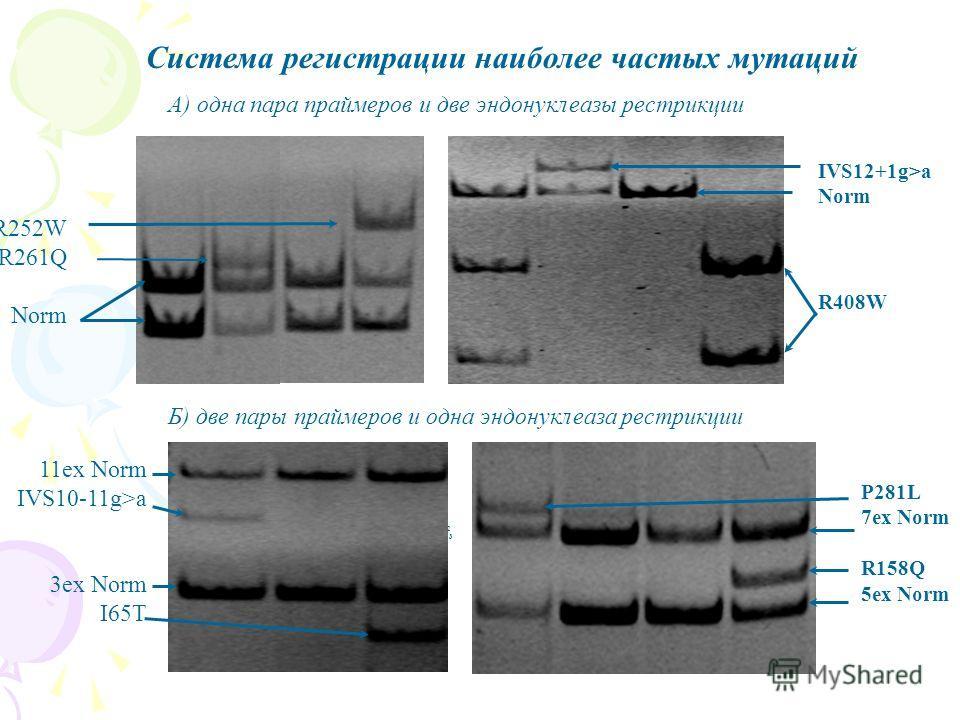 Система регистрации наиболее частых мутаций R252W R261Q Norm IVS12+1g>a Norm R408W 11ex Norm IVS10-11g>a 3ex Norm I65T P281L 7ex Norm R158Q 5ex Norm 1 2 3 А) одна пара праймеров и две эндонуклеазы рестрикции Б) две пары праймеров и одна эндонуклеаза