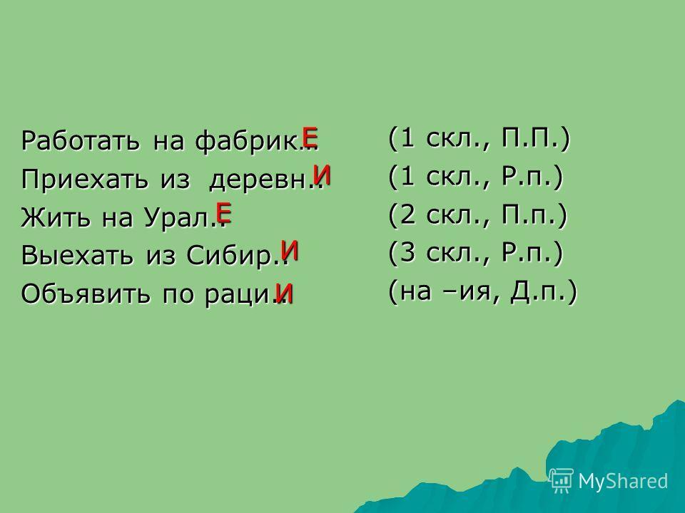 Работать на фабрик… Приехать из деревн.. Жить на Урал.. Выехать из Сибир.. Объявить по раци.. (1 скл., П.П.) (1 скл., Р.п.) (2 скл., П.п.) (3 скл., Р.п.) (на –ия, Д.п.) Е И Е И И