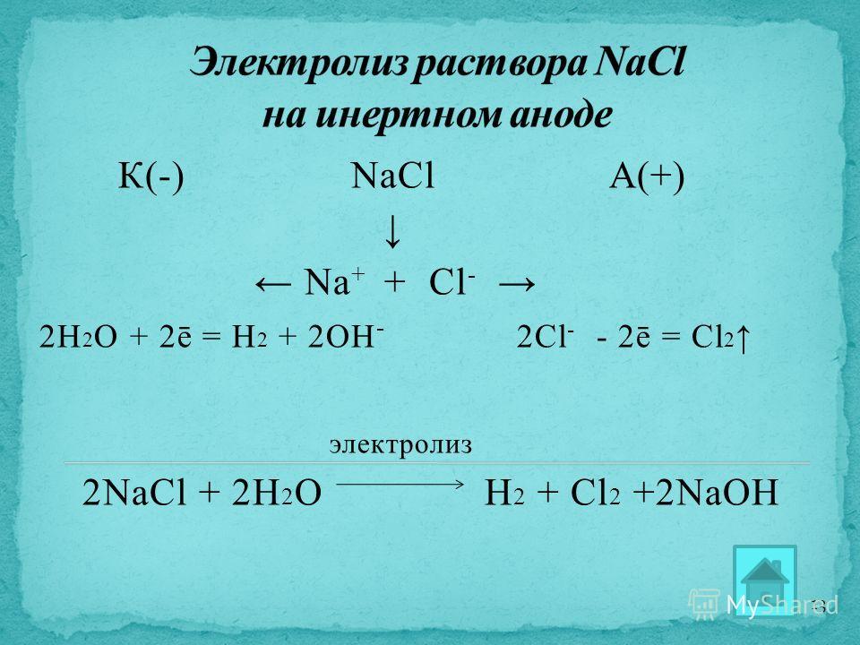 К(-) NaCl А(+) Na + + Cl - 2Н 2 О + 2ē = H 2 + 2OH - 2Cl - - 2ē = Cl 2 электролиз 2NaCl + 2H 2 O H 2 + Cl 2 +2NaOH 13