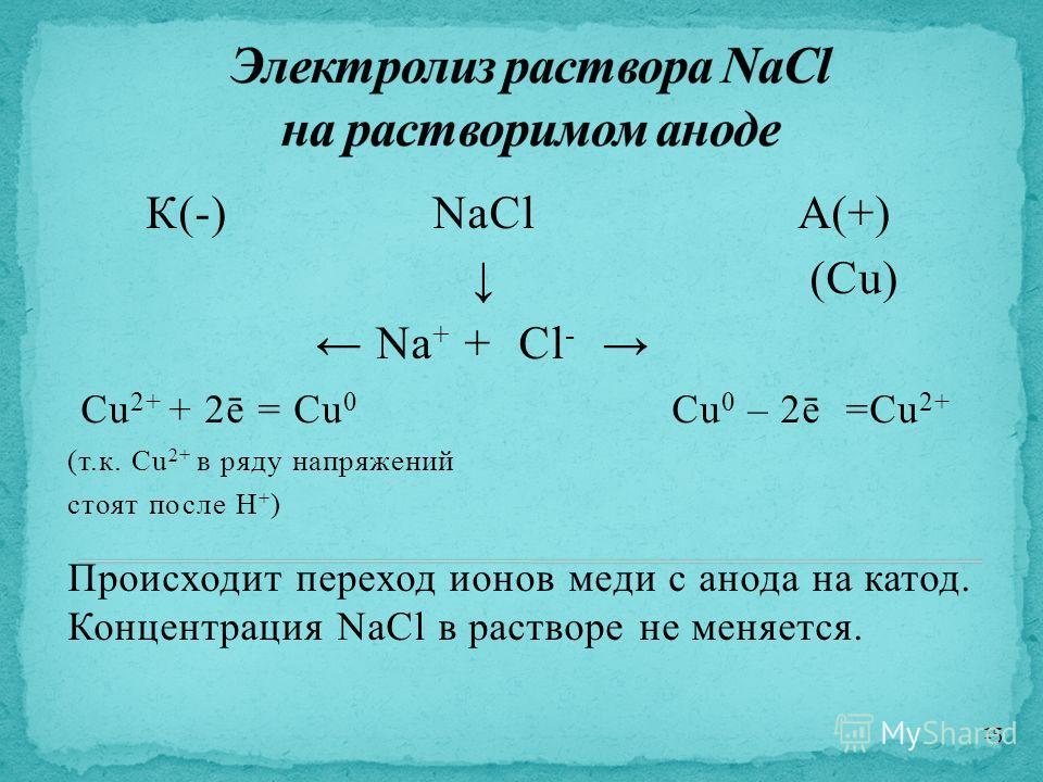К(-) NaClА(+) (Cu) Na + + Cl - Cu 2+ + 2ē = Cu 0 Cu 0 – 2ē =Cu 2+ (т.к. Cu 2+ в ряду напряжений стоят после H + ) Происходит переход ионов меди с анода на катод. Концентрация NaCl в растворе не меняется. 15