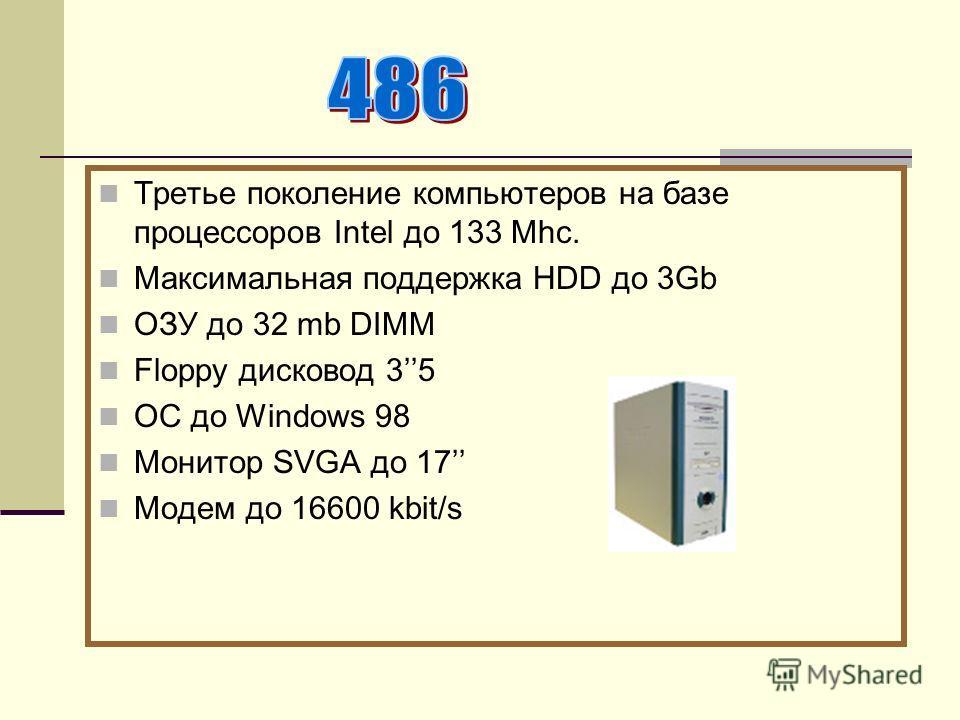 Третье поколение компьютеров на базе процессоров Intel до 133 Mhc. Максимальная поддержка НDD до 3Gb ОЗУ до 32 mb DIMM Floppy дисковод 35 ОС до Windows 98 Монитор SVGA до 17 Модем до 16600 kbit/s