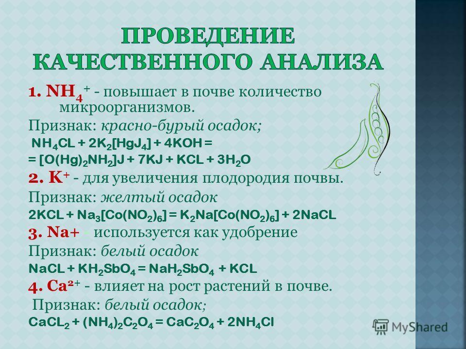 1. NH 4 + - повышает в почве количество микроорганизмов. Признак: красно-бурый осадок; NH 4 CL + 2K 2 [HgJ 4 ] + 4KOH = = [O(Hg) 2 NH 2 ]J + 7KJ + KCL + 3H 2 O 2. K + - для увеличения плодородия почвы. Признак: желтый осадок 2KCL + Na 3 [Co(NO 2 ) 6