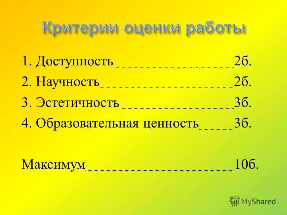 1. Доступность 2 б. 2. Научность 2 б. 3. Эстетичность 3 б. 4. Образовательная ценность 3 б. Максимум 10 б.