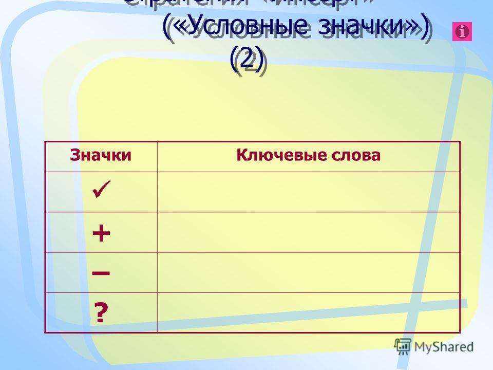 ЗначкиКлючевые слова + – ? Стратегия «Инсерт» («Условные значки») (2)