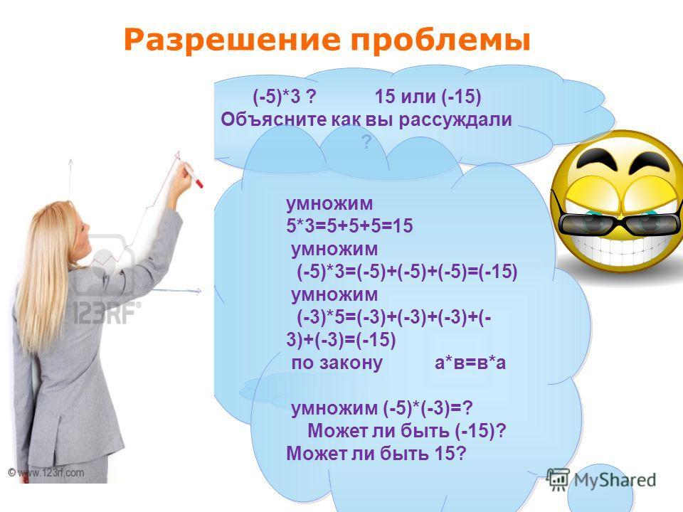 Разрешение проблемы (-5)*3 ? 15 или (-15) Объясните как вы рассуждали ? умножим 5*3=5+5+5=15 умножим (-5)*3=(-5)+(-5)+(-5)=(-15) умножим (-3)*5=(-3)+(-3)+(-3)+(- 3)+(-3)=(-15) по закону а*в=в*а умножим (-5)*(-3)=? Может ли быть (-15)? Может ли быть 1