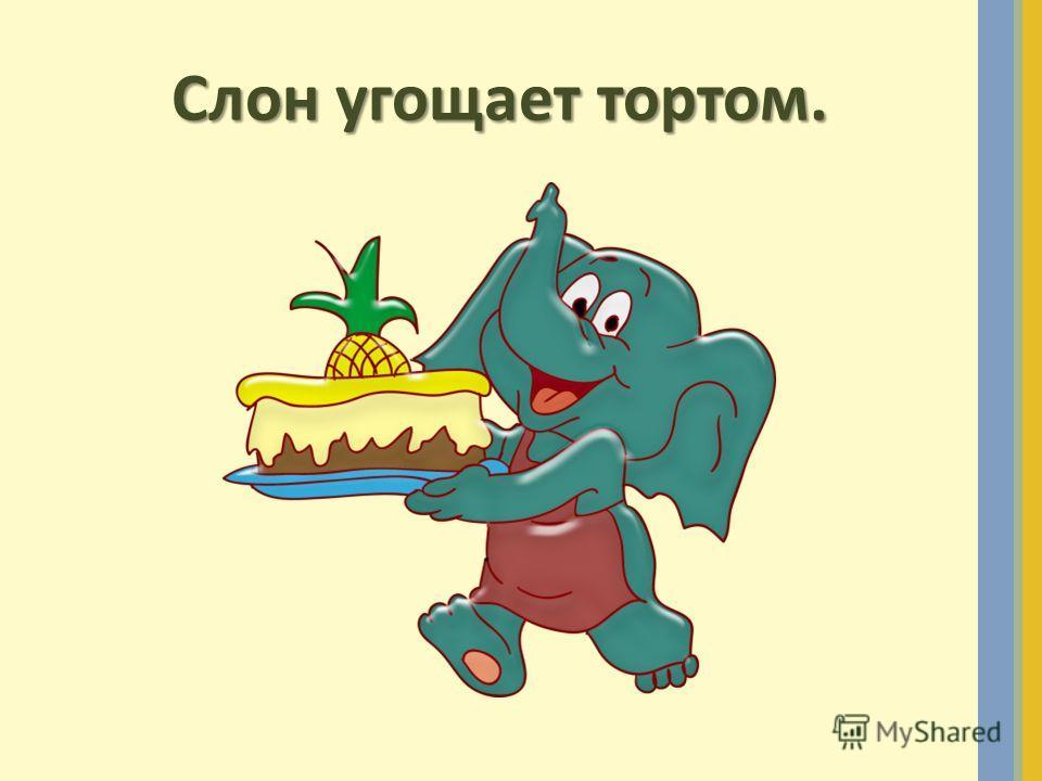 Слон угощает тортом.