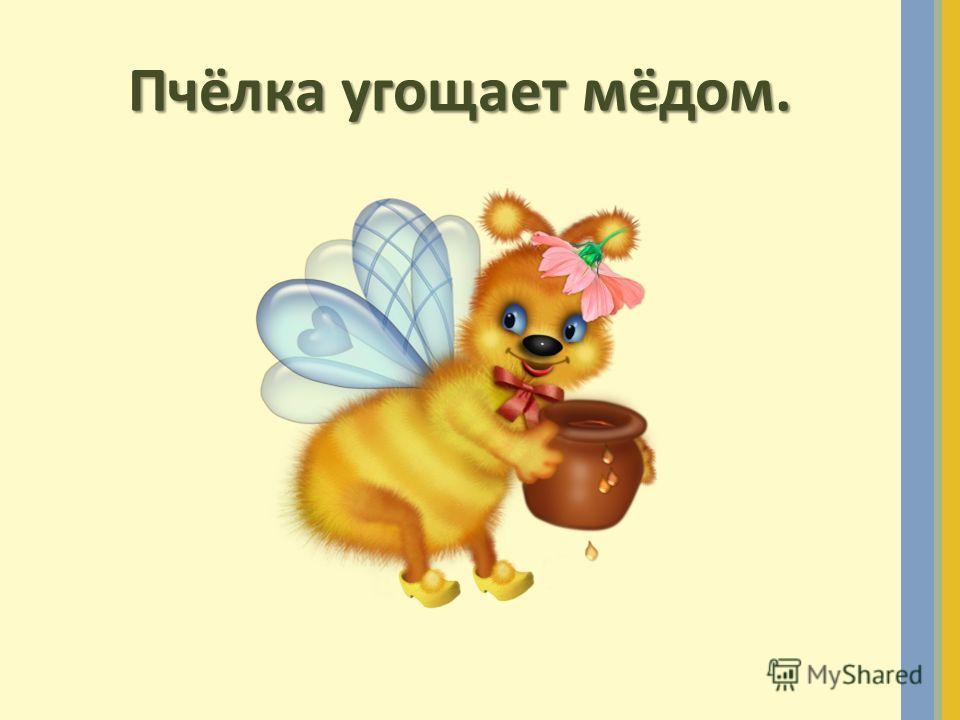 Пчёлка угощает мёдом.