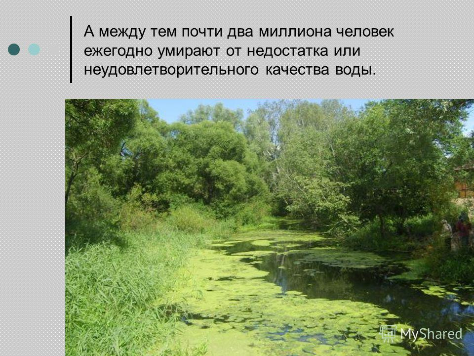 А между тем почти два миллиона человек ежегодно умирают от недостатка или неудовлетворительного качества воды.