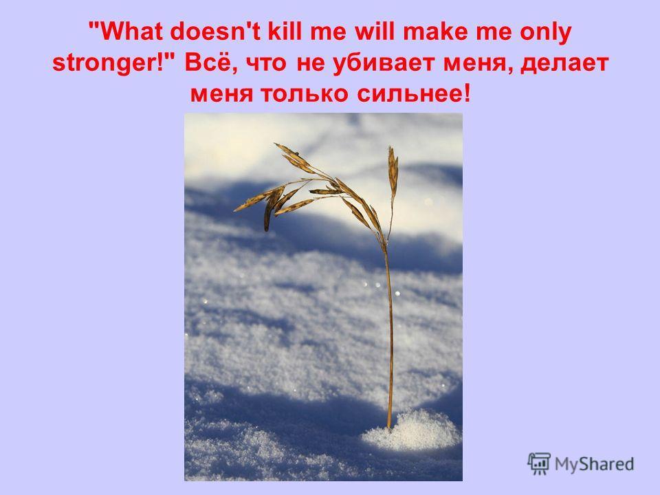 What doesn't kill me will make me only stronger! Всё, что не убивает меня, делает меня только сильнее!