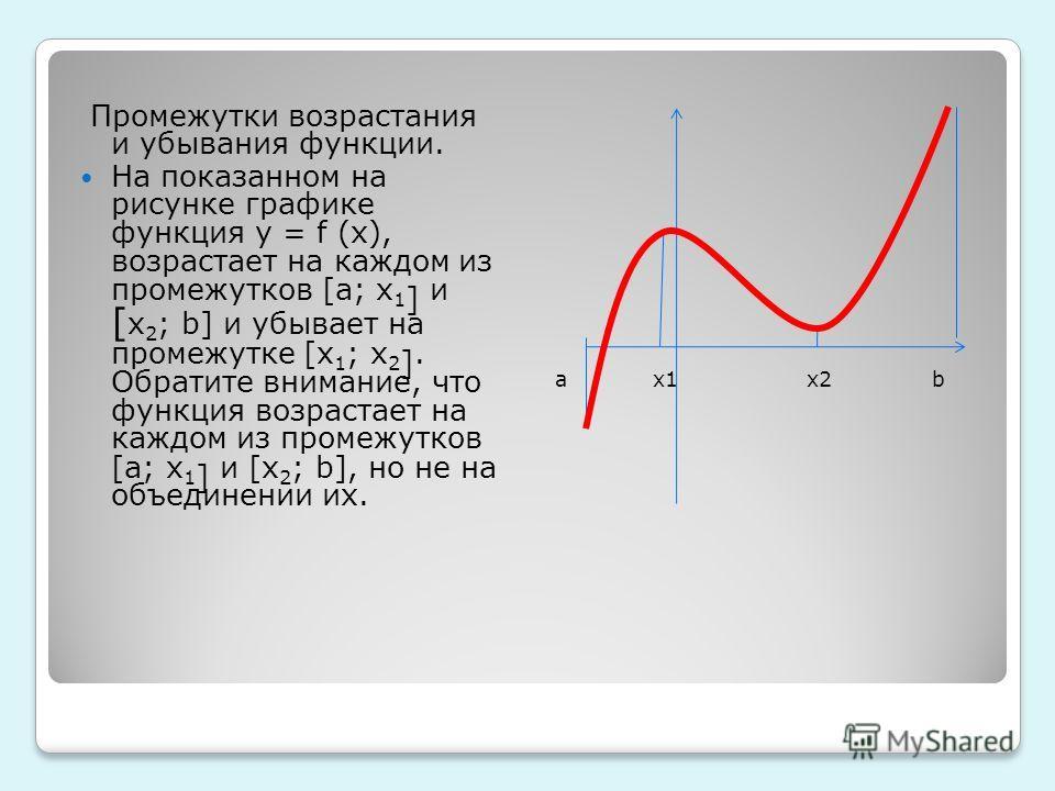 Промежутки возрастания и убывания функции. На показанном на рисунке графике функция y = f (x), возрастает на каждом из промежутков [a; x 1 ] и [ x 2 ; b] и убывает на промежутке [x 1 ; x 2 ]. Обратите внимание, что функция возрастает на каждом из про