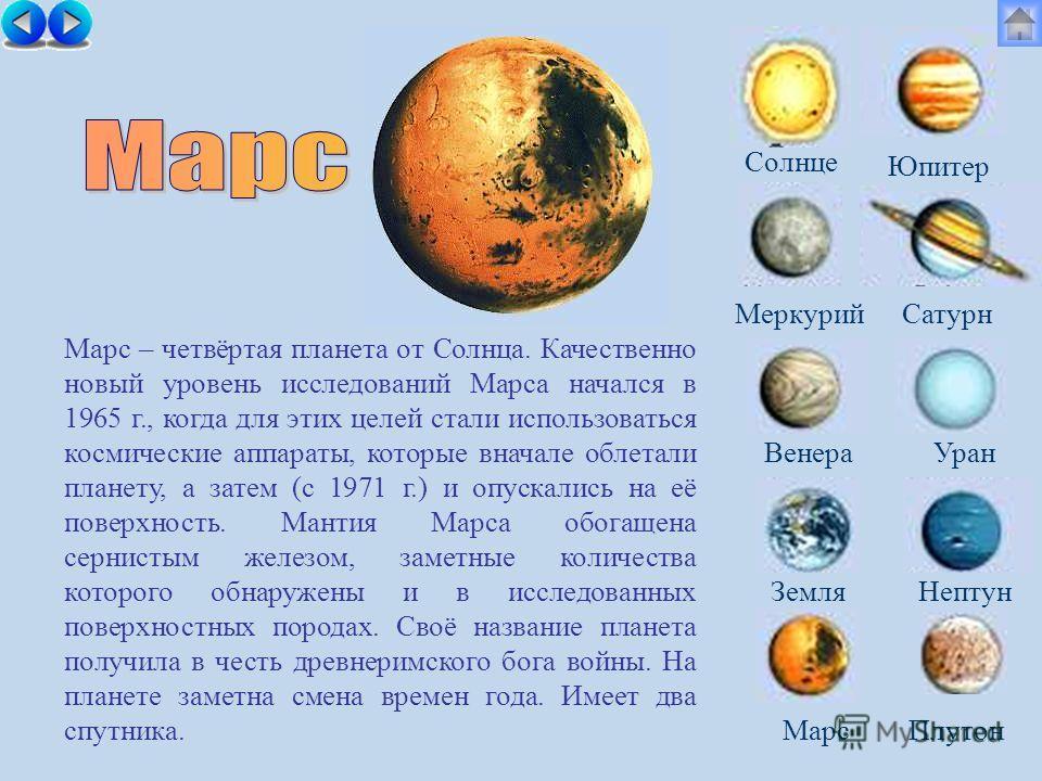 Солнце МеркурийСатурн ВенераУран ЗемляНептун Юпитер МарсПлутон Марс – четвёртая планета от Солнца. Качественно новый уровень исследований Марса начался в 1965 г., когда для этих целей стали использоваться космические аппараты, которые вначале облетал
