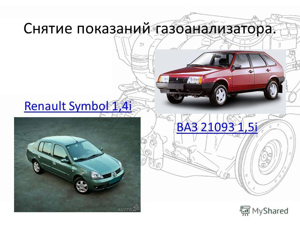 Снятие показаний газоанализатора. Renault Symbol 1,4i ВАЗ 21093 1,5i