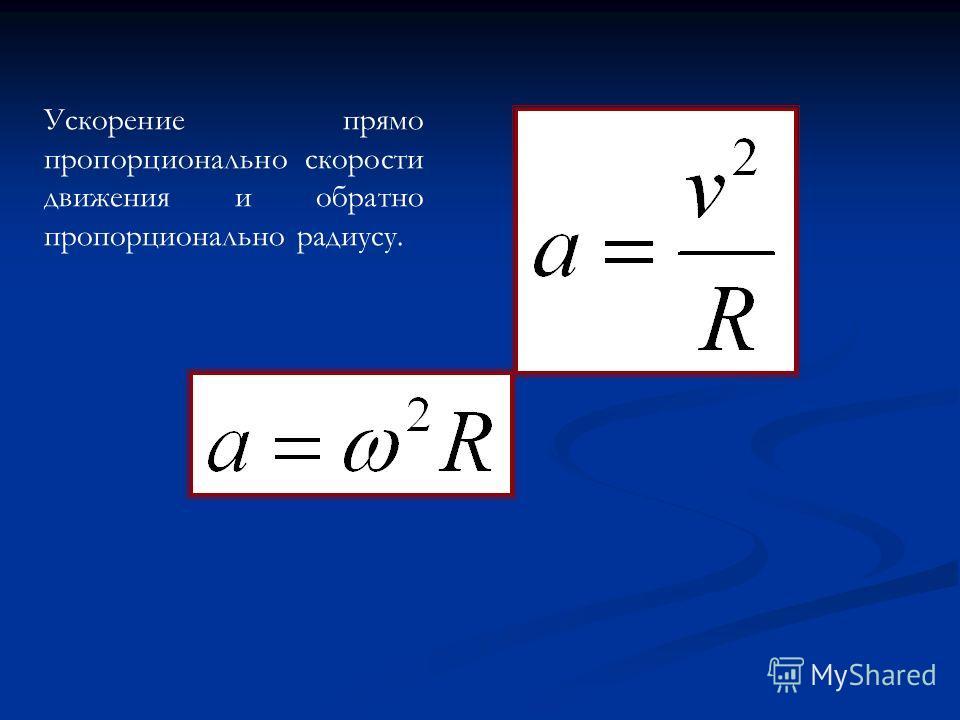 Ускорение прямо пропорционально скорости движения и обратно пропорционально радиусу.
