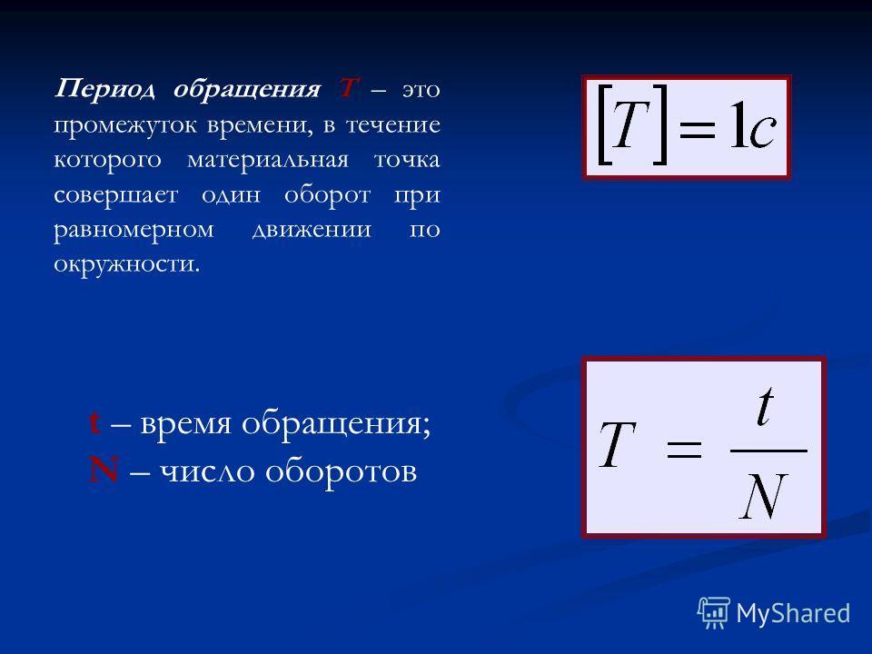 Период обращения T – это промежуток времени, в течение которого материальная точка совершает один оборот при равномерном движении по окружности. t – время обращения; N – число оборотов