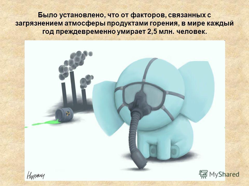 Было установлено, что от факторов, связанных с загрязнением атмосферы продуктами горения, в мире каждый год преждевременно умирает 2,5 млн. человек.
