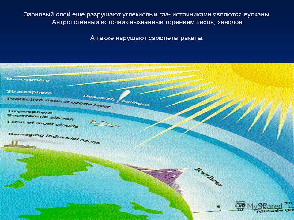Озоновый слой еще разрушают углекислый газ- источниками являются вулканы. Антропогенный источник вызванный горением лесов, заводов. А также нарушают самолеты ракеты.