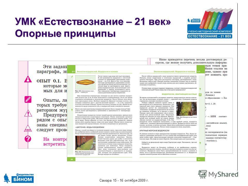 Самара 15 - 16 октября 2009 г. УМК «Естествознание – 21 век» Опорные принципы