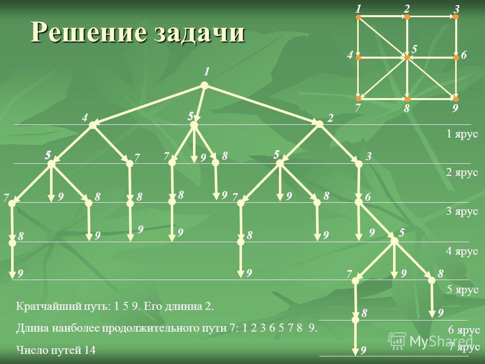 Решение задачи 2 3 4 5 6 7 8 9 1 1 2 5 4 8 9 6 9 5 8 9 8 9 7 9 5 8 9 8 9 7 9 5 8 9 8 9 7 1 ярус 2 ярус 3 ярус 4 ярус 5 ярус 6 ярус 7 ярус 7 5 95 3 5 Кратчайший путь: 1 5 9. Его длинна 2. Длина наиболее продолжительного пути 7: 1 2 3 6 5 7 8 9. Число
