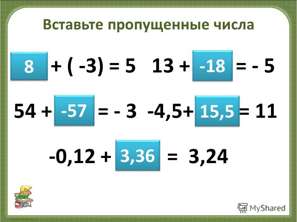 Вставьте пропущенные числа + ( -3) = 5 13 + = - 5 54 + = - 3 -4,5+ = 11 -0,12 + = 3,24 8 8 -57 -18 15,5 3,36