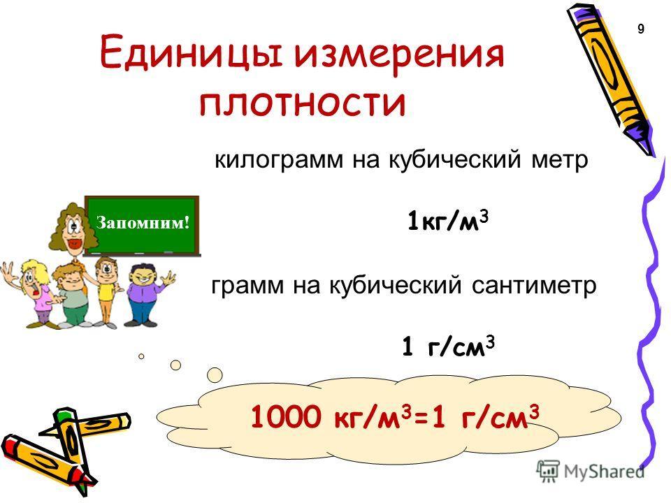 Единицы измерения плотности килограмм на кубический метр 1кг/м 3 грамм на кубический сантиметр 1 г/см 3 9 1000 кг/м 3 =1 г/см 3 Запомним!