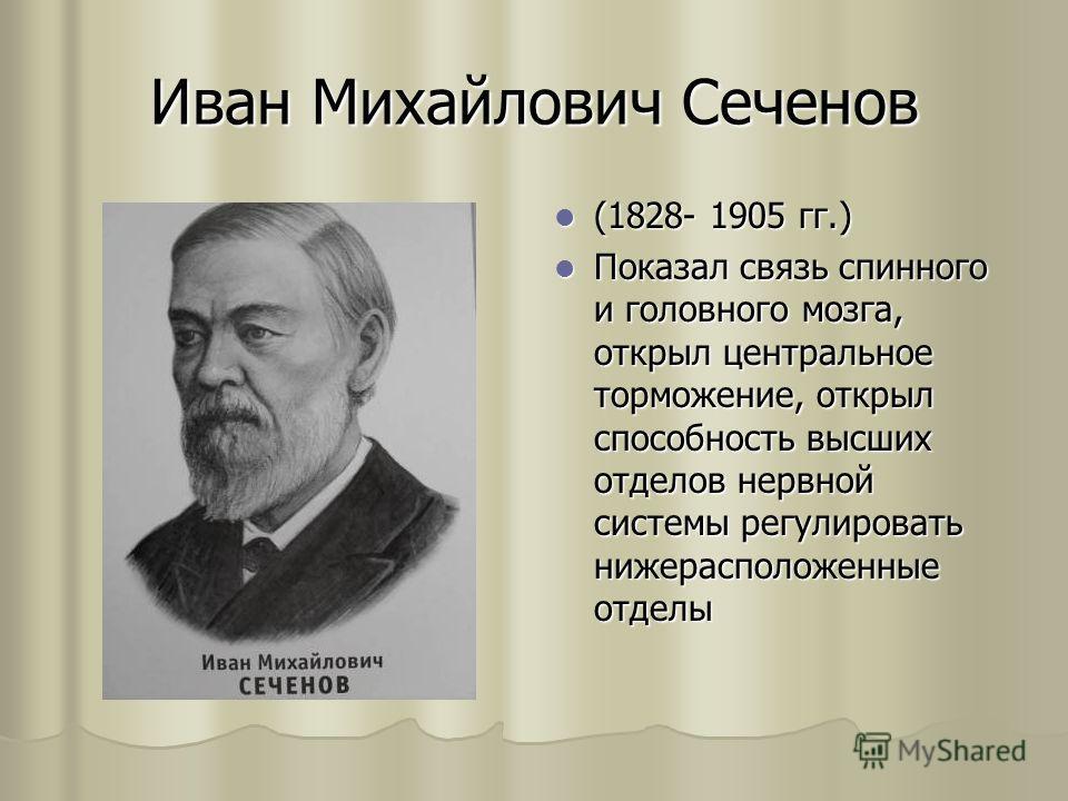Иван Михайлович Сеченов (1828- 1905 гг.) (1828- 1905 гг.) Показал связь спинного и головного мозга, открыл центральное торможение, открыл способность высших отделов нервной системы регулировать нижерасположенные отделы Показал связь спинного и головн