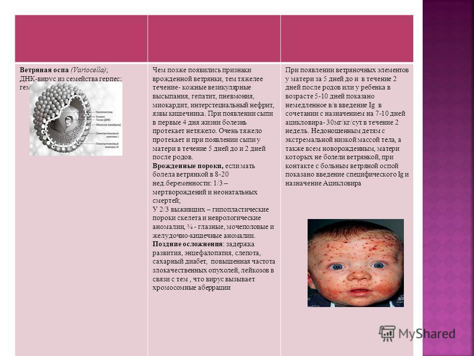 Ветряная оспа (Variocella); ДНК-вирус из семейства герпес; гематогенный. Чем позже появились признаки врожденной ветрянки, тем тяжелее течение- кожные везикулярные высыпания, гепатит, пневмония, миокардит, интерстециальный нефрит, язвы кишечника. При