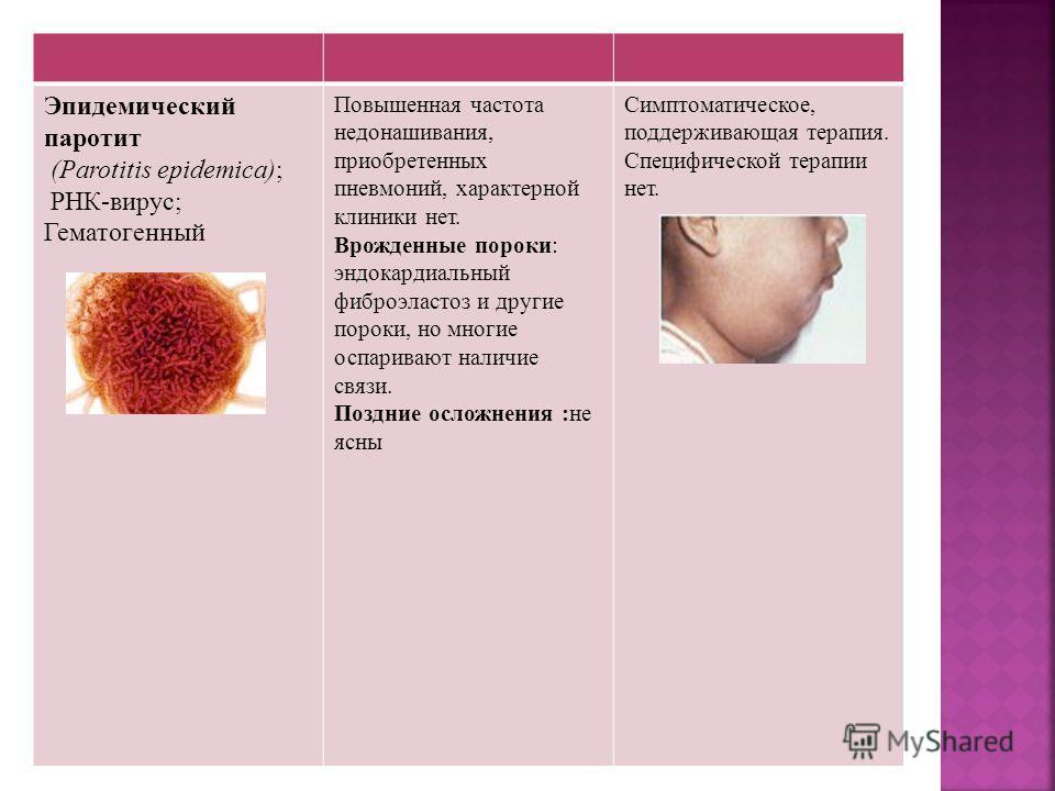 Эпидемический паротит (Parotitis epidemica); РНК-вирус; Гематогенный Повышенная частота недонашивания, приобретенных пневмоний, характерной клиники нет. Врожденные пороки: эндокардиальный фиброэластоз и другие пороки, но многие оспаривают наличие свя