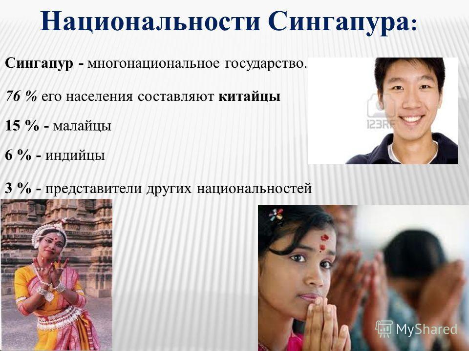 Национальности Сингапура : Сингапур - многонациональное государство. 76 % его населения составляют китайцы 15 % - малайцы 6 % - индийцы 3 % - представители других национальностей