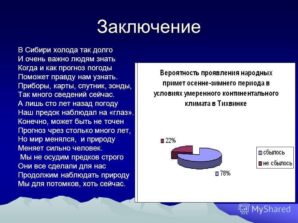 Заключение В Сибири холода так долго И очень важно людям знать Когда и как прогноз погоды Поможет правду нам узнать. Приборы, карты, спутник, зонды, Так много сведений сейчас. А лишь сто лет назад погоду Наш предок наблюдал на «глаз». Конечно, может