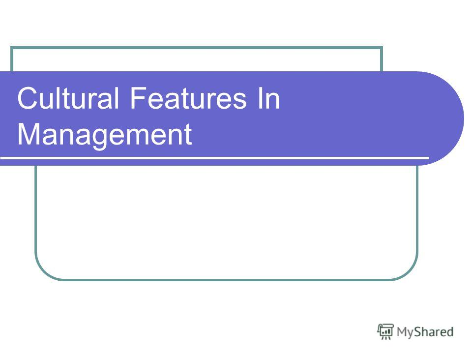 Cultural Features In Management