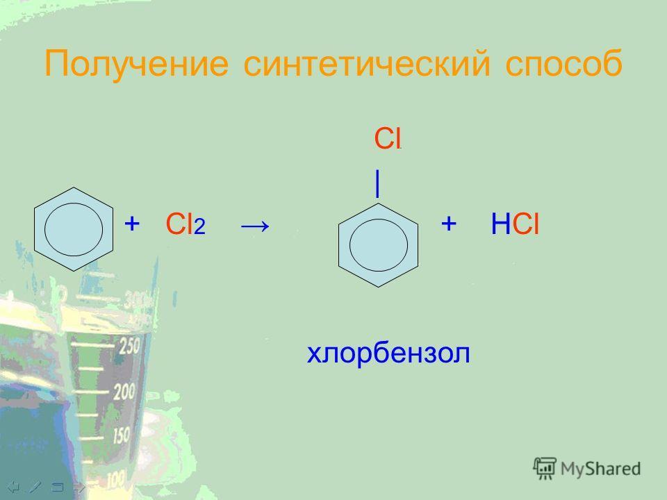 Получение синтетический способ Cl | + Cl 2 + HCl хлорбензол