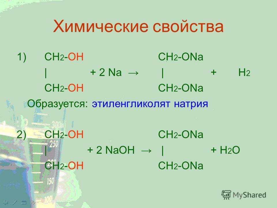 Химические свойства 1) CH 2 -ОН CH 2 -ONa | + 2 Na |+Н 2 CH 2 -ОН CH 2 -ONa Образуется: этиленгликолят натрия 2) CH 2 -ОН CH 2 -ONa | + 2 NaОН |+ Н 2 О CH 2 -ОН CH 2 -ONa