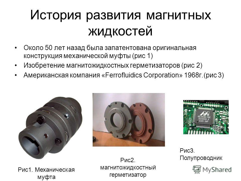 История развития магнитных жидкостей Около 50 лет назад была запатентована оригинальная конструкция механической муфты (рис 1) Изобретение магнитожидкостных герметизаторов (рис 2) Американская компания «Ferrofluidics Corporation» 1968г.(рис 3) Рис1.
