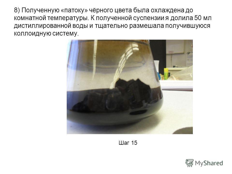 8) Полученную «патоку» чёрного цвета была охлаждена до комнатной температуры. К полученной суспензии я долила 50 мл дистиллированной воды и тщательно размешала получившуюся коллоидную систему. Шаг 15